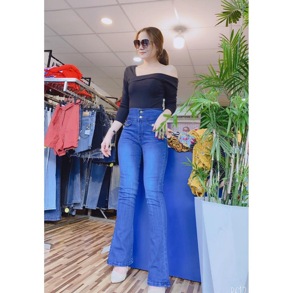 Quần jean nữ ống bass xanh lưng cao 2 nút túi kiểu phom chuẩn