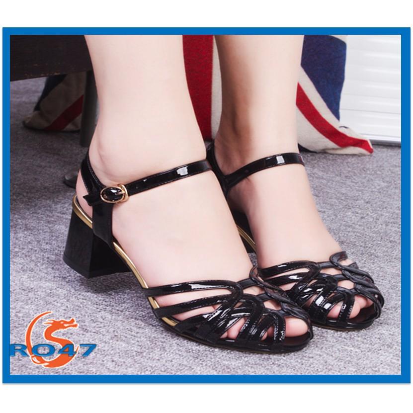 Giày sandal nữ đẹp Rosata đan họa tiết RO47