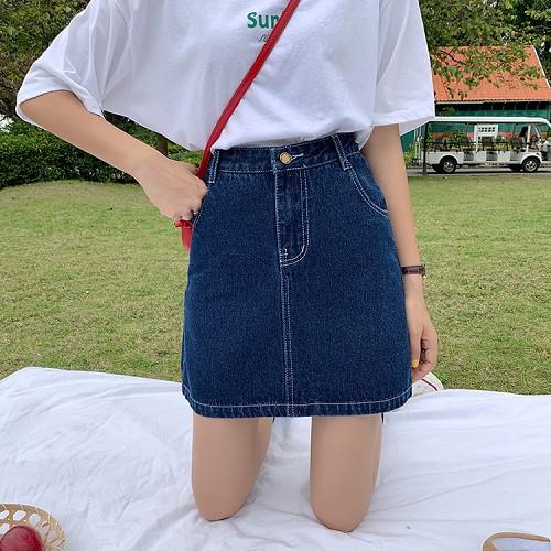 [SIÊU HOT] Chân Váy Jeans Cạp Cao Phối Viền Nổi bật