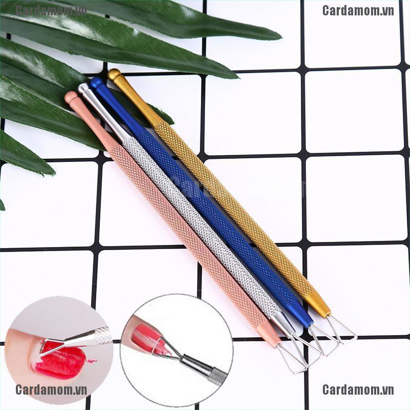 {carda} stainless steel uv gel polish remover triangle stick rod pusher nail art tools{LJ}