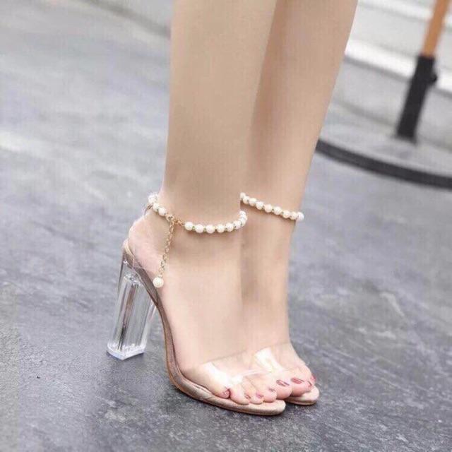 Giày cao gót quai trong hạt cườn