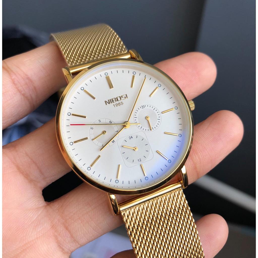 Đồng hồ nam NIBOSI 2321 Chính Hãng (Mặt Trắng Vàng) - Đồng hồ NIBOSI 1985 CHÍNH HÃNG