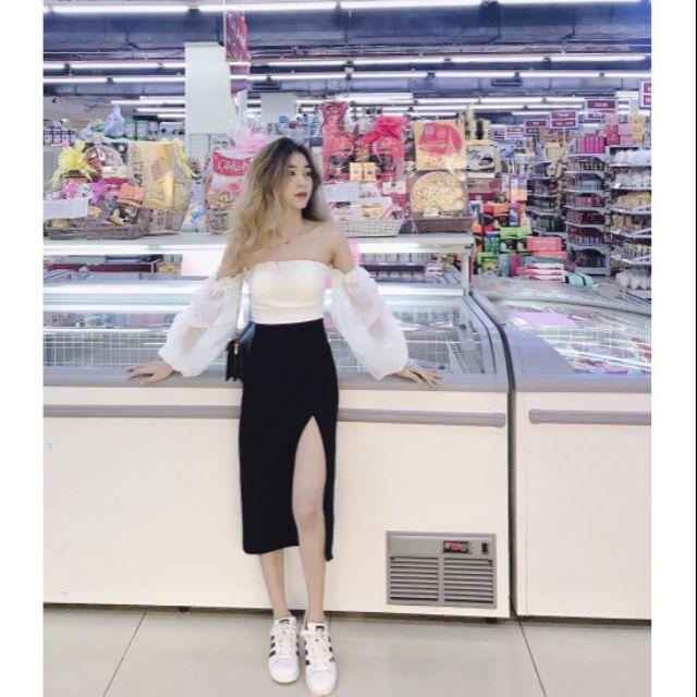 [ sushop96] Sét áo trắng trễ vai + chân váy xẻ