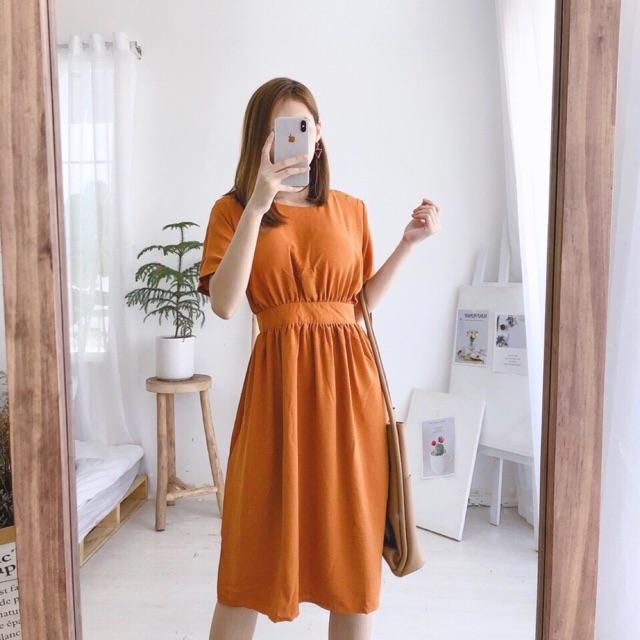 (Khosivnxk-có sẵn) đầm cam hở lưng