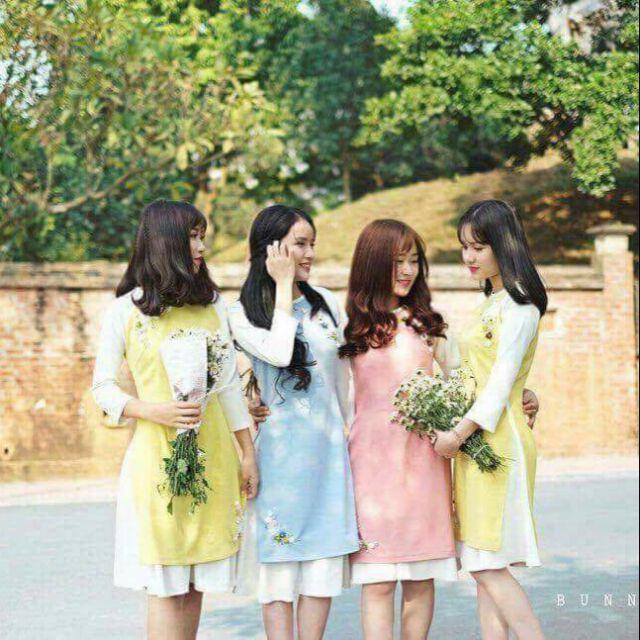 Áo dài cách tân kèm chân váy giá rẻ nhất thị trường