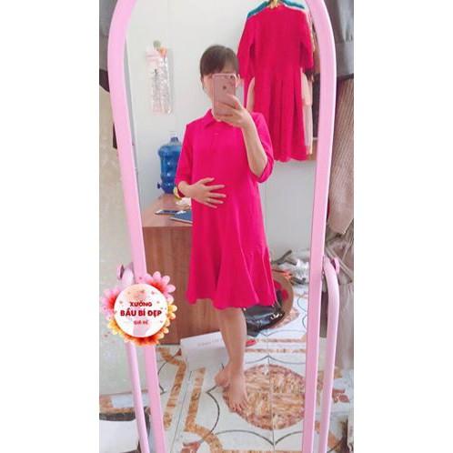 XẢ KHO Váy Bầu Thun Đuôi Cá Màu Đỏ Đô