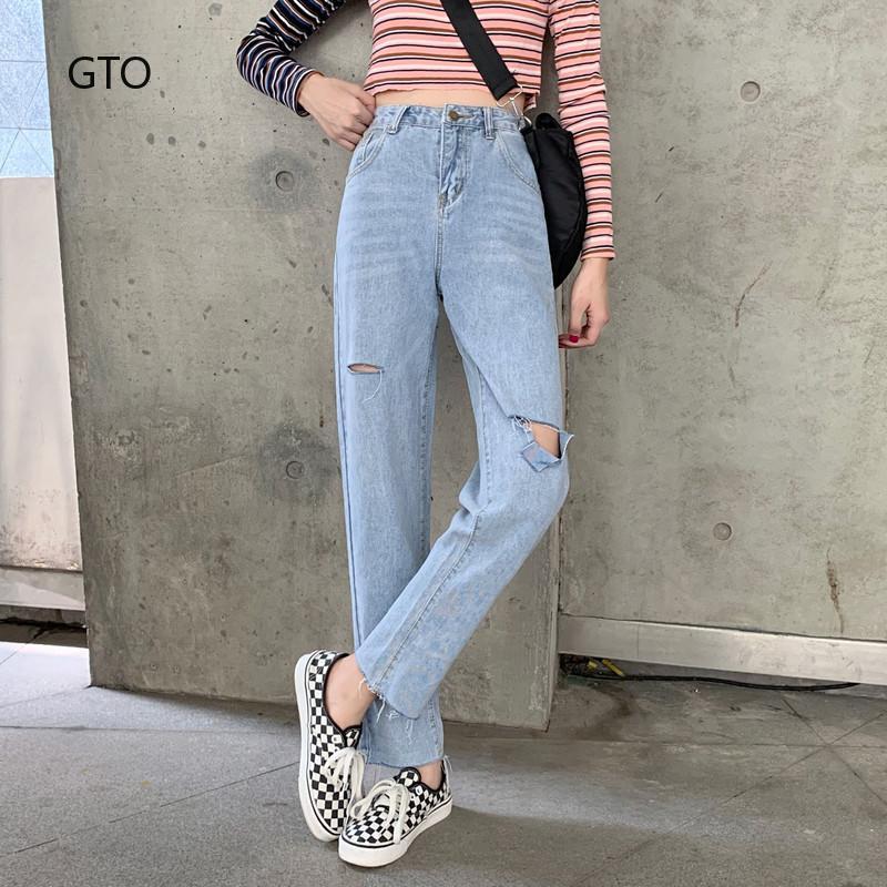 Quần jeans nữ dài lưng thấp kiểu Hàn