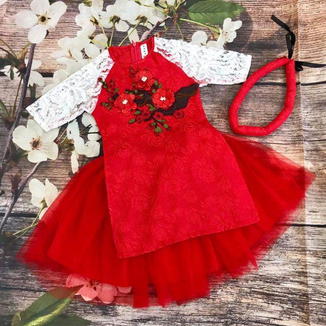 Áo dài cách tân cao cấp bé gái Size cho bé từ 10kg -></img> 26kg. Chất vải gấm siêu mềm, họa tiết hoa kết nổi, tay đắp zen