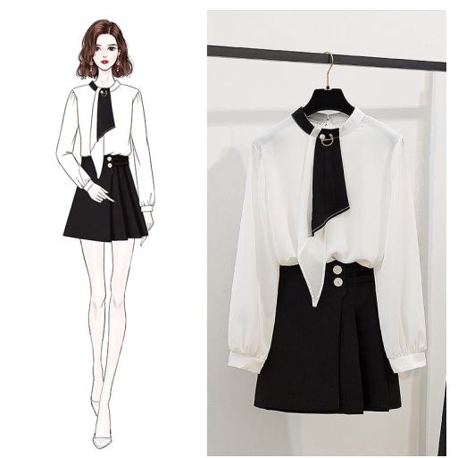 Bộ Áo Sơ Mi Dài Tay + Chân Váy Lưng Cao Xinh Xắn Dành Cho Nữ