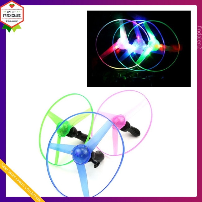 Funny Colorful Pull String UFO LED Light Up Flying Saucer Disc Kids magic lighting toys light fairy