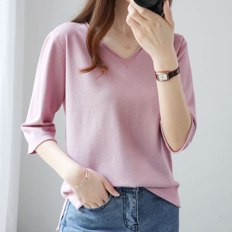 Women's Middle Sleeve Knit Sweater Top
