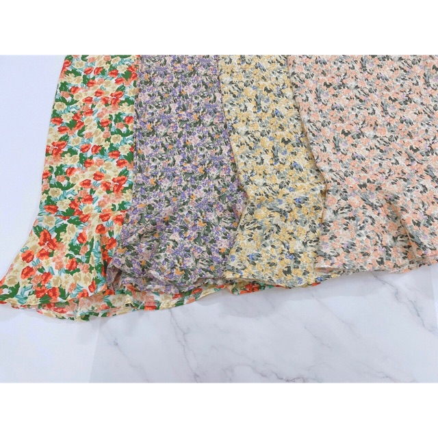 Chân váy hoa vintage đuôi cá