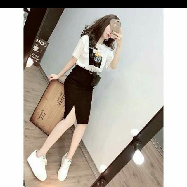 1158247084 - Set áo thun kèm chân váy bút chì