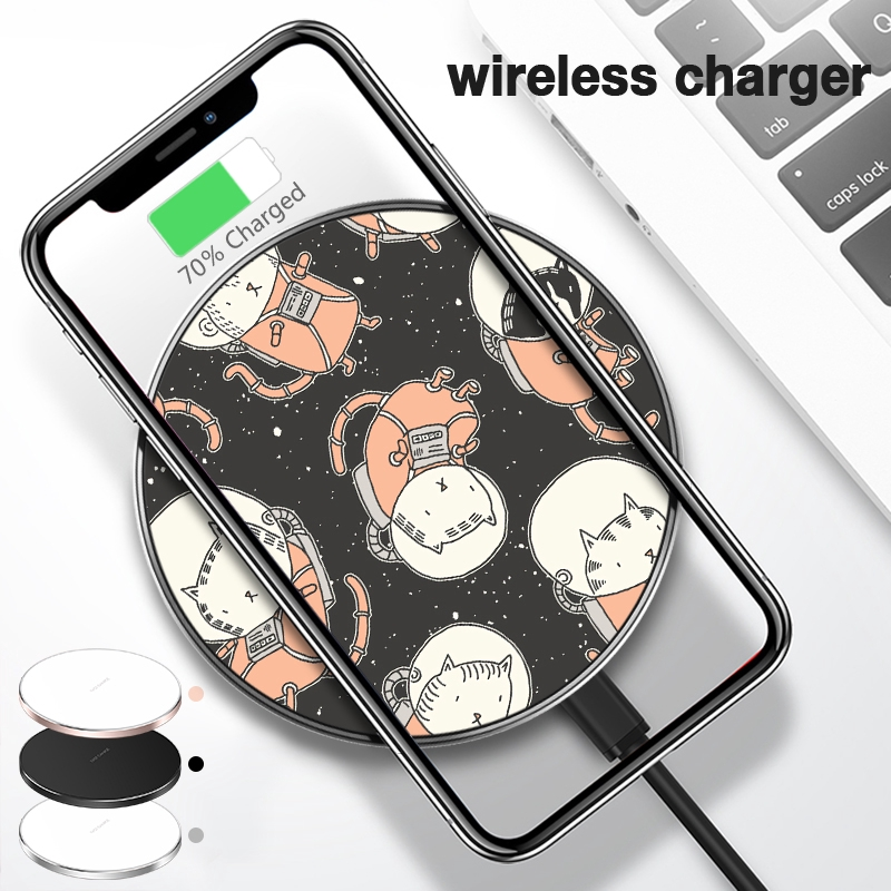 For iPhone Samsung Huawei Xiaomi QI Standard Cartoon astronaut cat pattern Pattern Wireless Charger