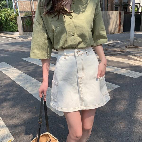 Chân Váy Denim Ngắn Lưng Cao Thời Trang 2019 Cho Nữ