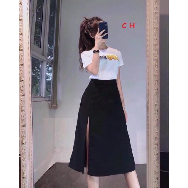 Sét áo Lee + chân váy xẻ CH12
