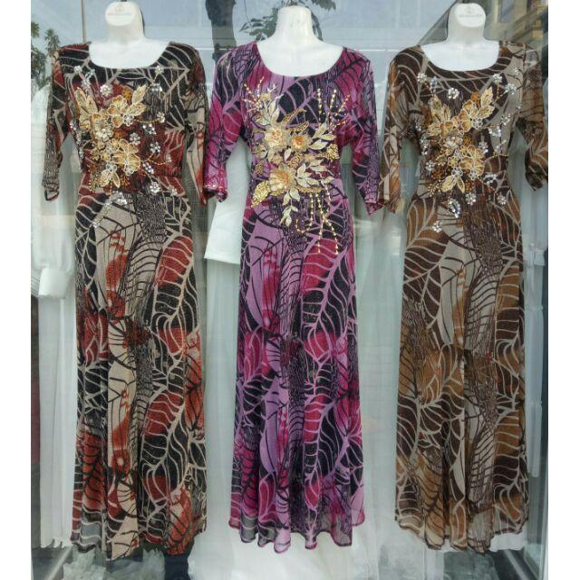 5403039466 - (free chỉnh sửa váy) đầm dạ hội trung niên tay dài, đầm hoa trung niên tay dài cho mẹ, đầm hoa đi tiệc trung niên cho mẹ