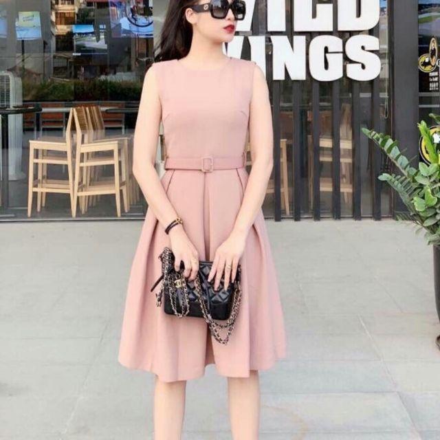 Đầm xòe hồng nhạt