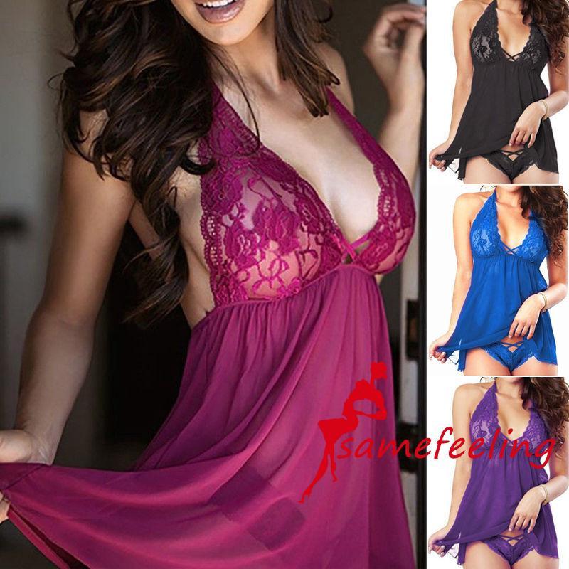 Bộ gồm đầm ngủ họa tiết ren và quần lót g-string thời trang 2018 cho nữ