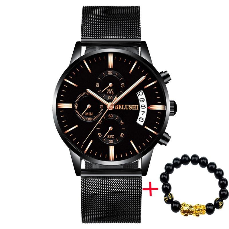 Đồng hồ nam BELUSHI BEH995 dây thép không gỉ cao cấp + tặng vòng tay ti hưu