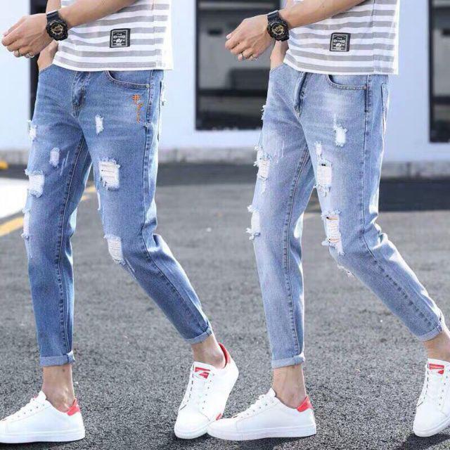 Quần jean nam rách 2 màu cao cấp