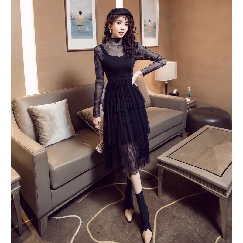 Bộ Áo Lưới + Chân Váy Lưới Xếp Tầng Đáng Yêu Cho Nữ Mùa Thu 2019