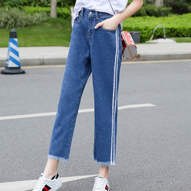 Quần Jeans Nữ Lưng Cao Co Dãn Phong Cách Retro