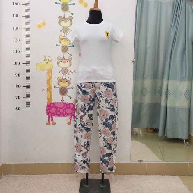 Set áo thun quần xô nữ