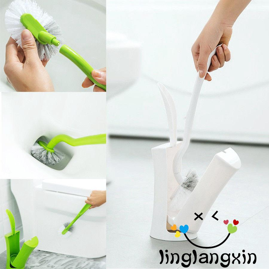 Mu-V Hot Grass Shaped Toilet Scrub New Cleaning Brush Tool With Holder Plastic Home Bathroom