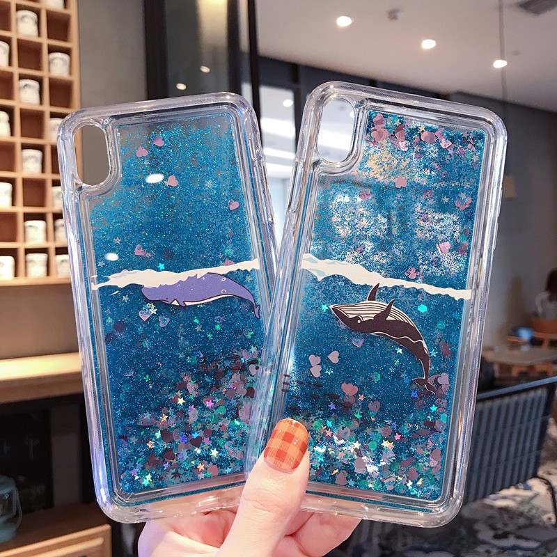 For iphone x/xs max xr 11 11Pro max PC liquid quicksand phone case