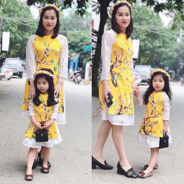 Set áo dài cách tân mẹ và bé
