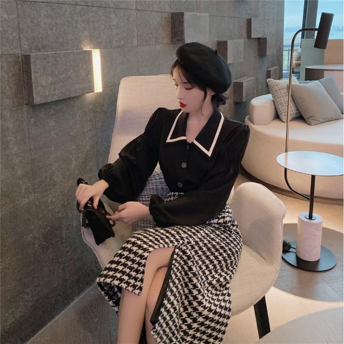 Set Áo Sơ Mi Tay Phồng Cổ Thủy Thủ + Chân Váy Lưng Cao Phong Cách Retro Hàn Quốc