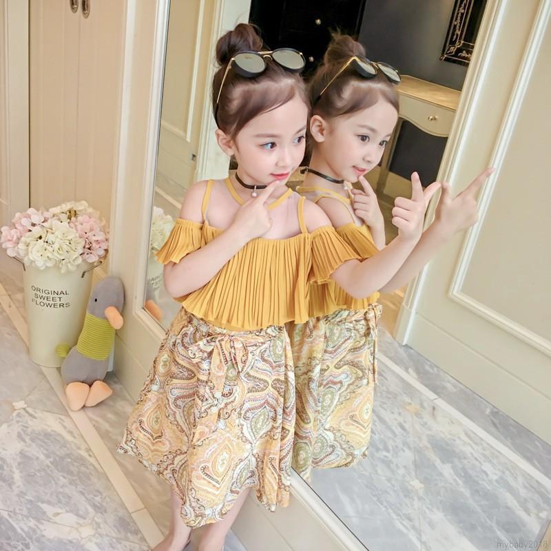 Bộ áo thun cổ tròn ngắn tay + chân váy cho bé gái