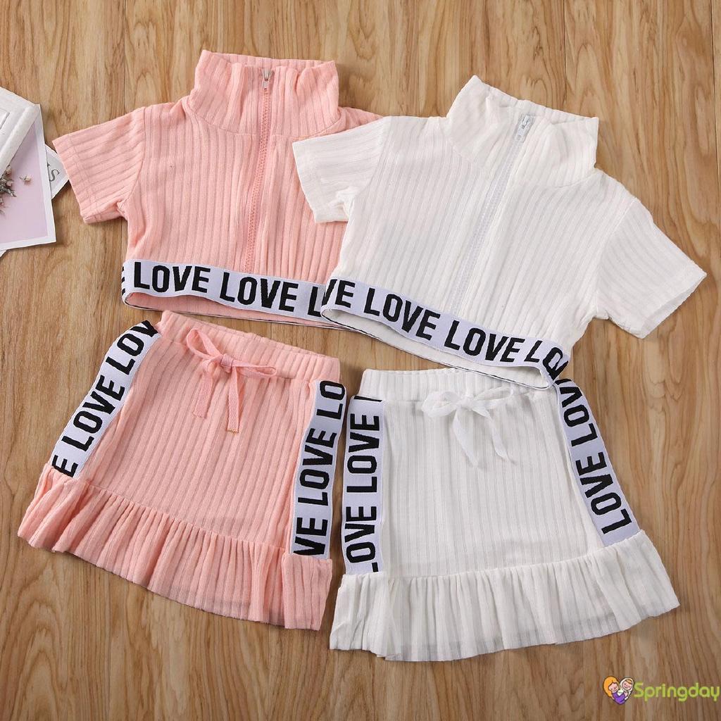 Bộ áo croptop tay ngắn cổ cao + chân váy ngắn thời trang năng động cho bé gái