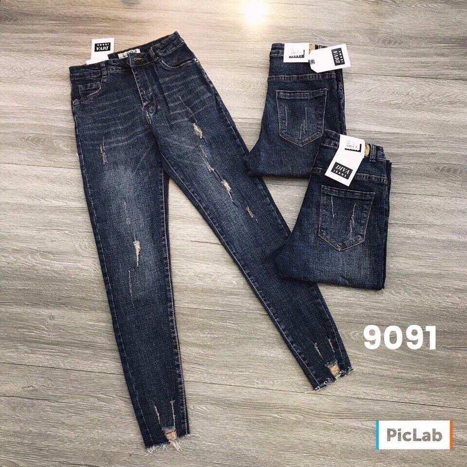 Quần jeans xước chất siêu co giãn
