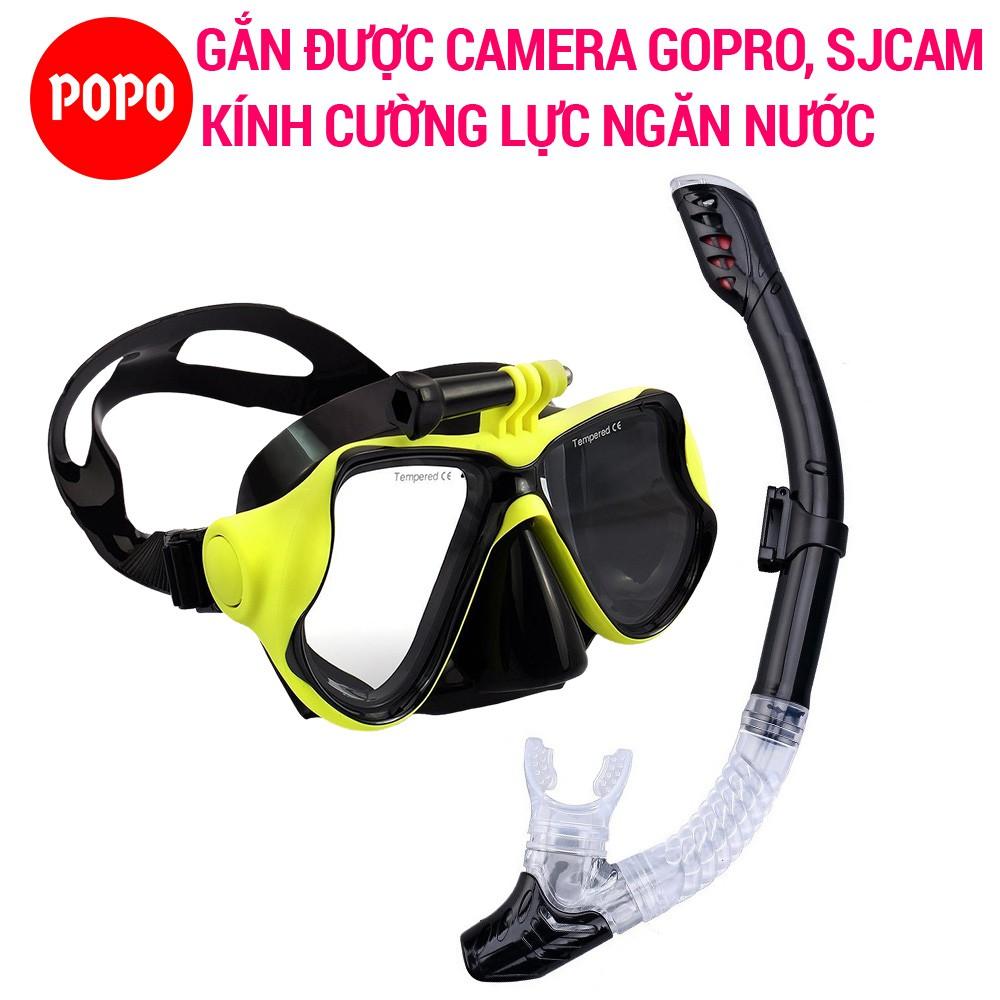 Bộ mặt nạ lặn ống thở gắn được Gopro SJCAM mắt kính cường lực POPO Collection