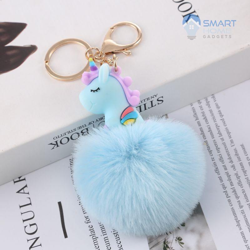 Móc Khóa Cục Bông Unicorn - Móc Chìa Khóa Hình Ngựa Một Sừng Cực Dễ Thương