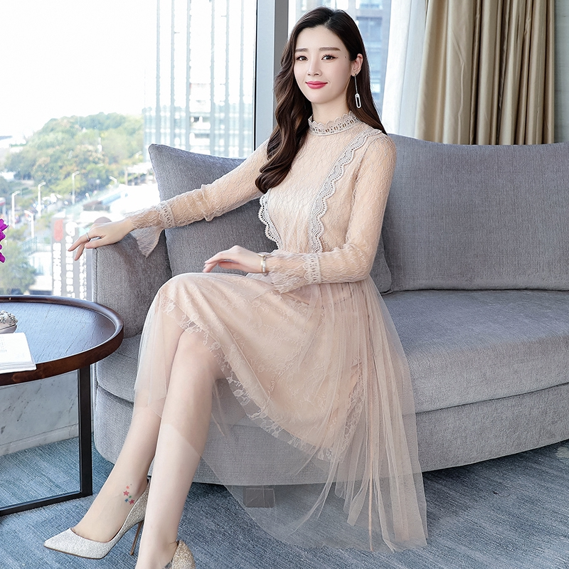 Korean New Women Dress Long-sleeved Lace Dress Trumpet Sleeve Mesh Pleated Slim Bottoming Dress