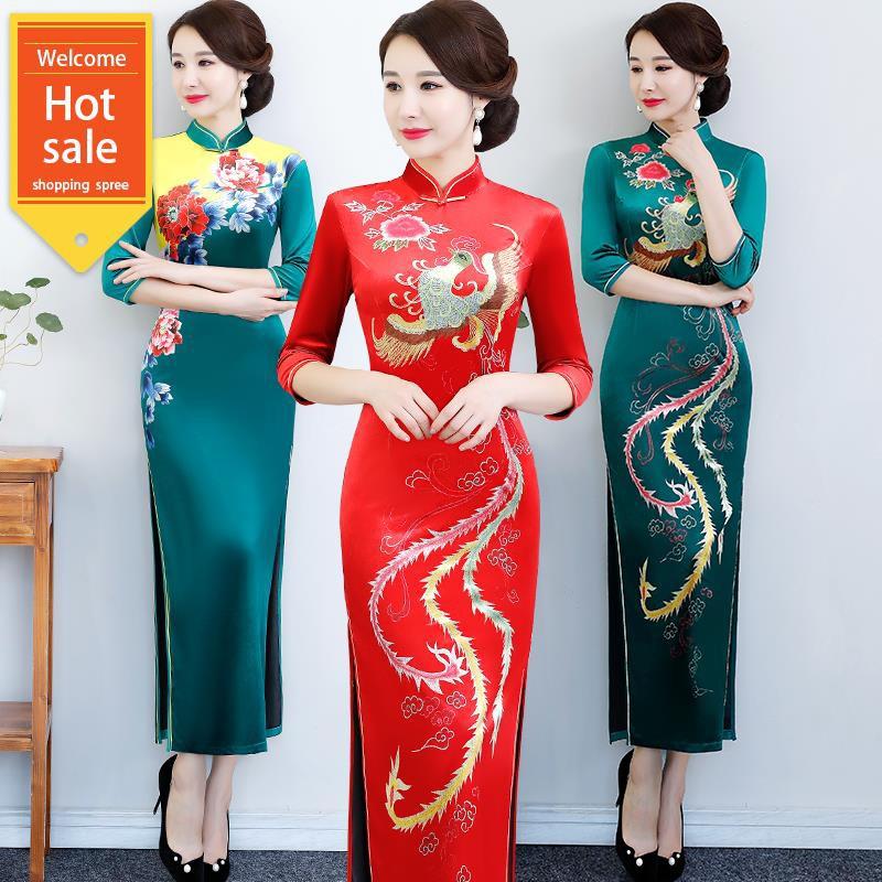 Đầm tay lửng họa tiết rồng phượng phong cách trung hoa dành cho nữ
