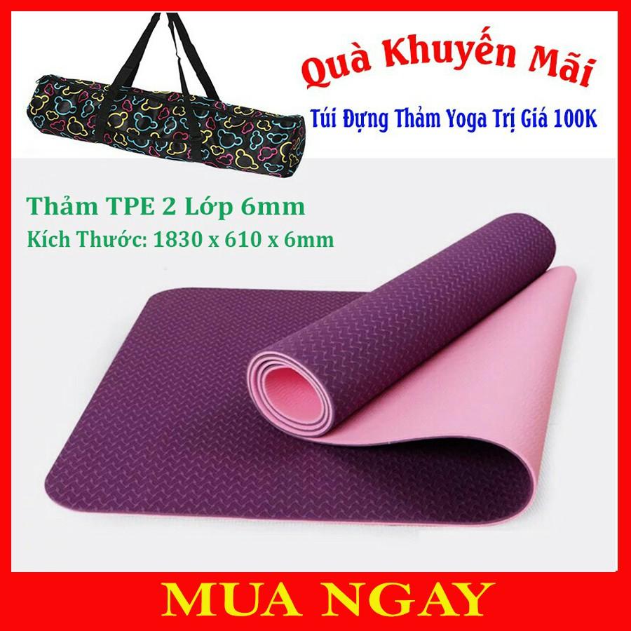 Thảm Yoga PALEDAS 2 Lớp TPE Tặng Kèm Túi Màu Tím Hồng