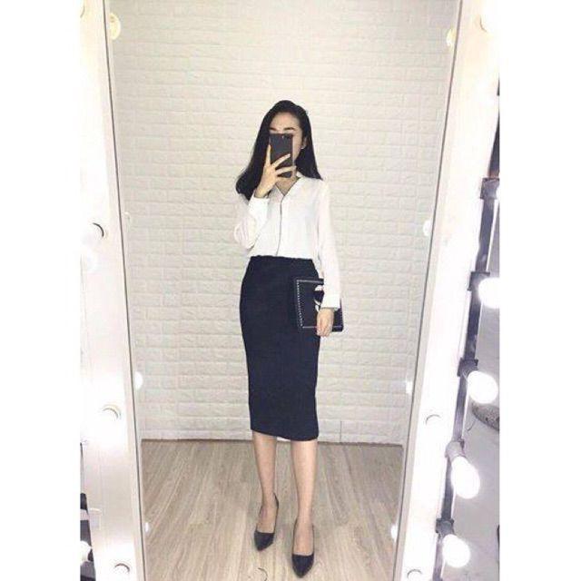 [ hàng cao cấp] chân váy công sở dáng dài chất Umi cực đẹp