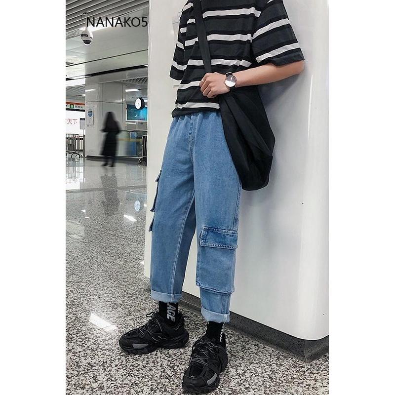 Quần Jeans nam ống đứng phong cách retro