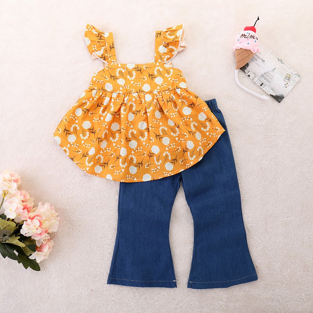 Set áo 2 dây in hoa + quần dài thời trang dành cho bé gái