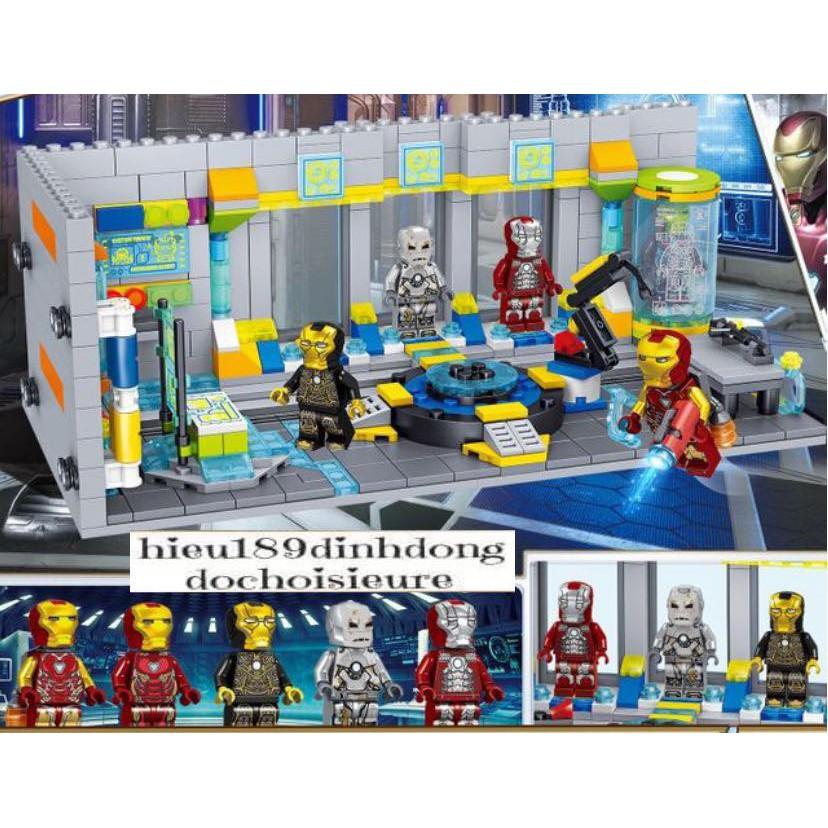 Lắp ráp xếp hình Lego siêu anh hùng 64016 : Phòng chứa giáp của người sắt ironman 551 mảnh (ảnh thật)