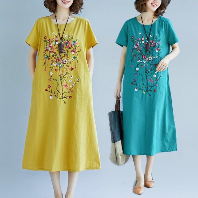 Váy đầm trung niên nữ in hoa(ảnh thật cuối)
