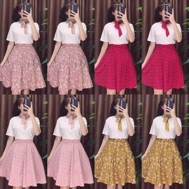 Sét 3 combo chân váy hoa+ áo pull+ nơ cổ cùng tone