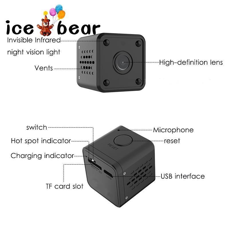 Camera mini độ phân giải HD Q9 hỗ trợ quay ban đêm , DVR và gấu