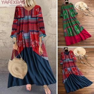 Women's Ladies Dress Beach Party Casual A line Maxi Women's Boho Ladies 3/4 sleeve V neck Loose fit Baggy Printed