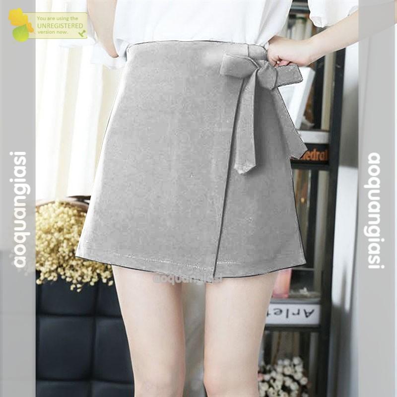 Chân váy vạt xéo thắt nơ xam11 Natalia size S,Mkute 2020