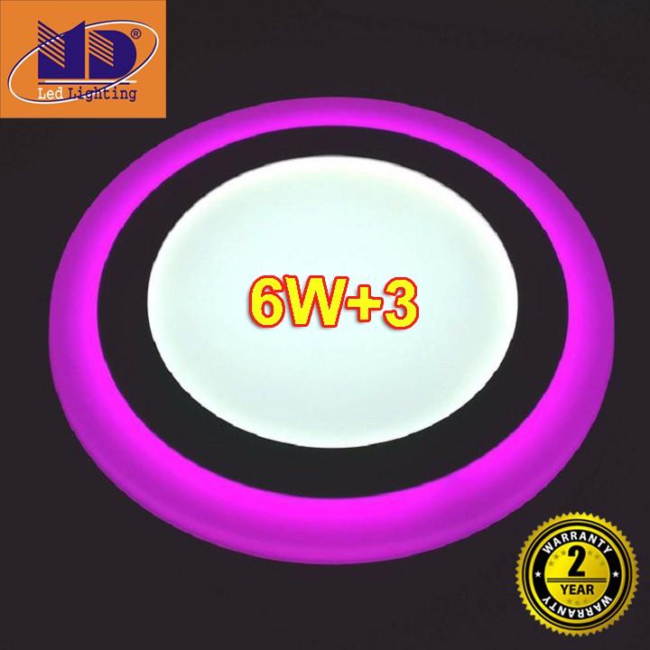 Đèn ốp trần 9W Tròn mâm nổi đổi màu trắng - tím hồng (6w+3-Φ145) MD37